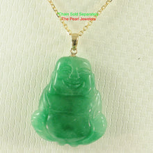 Load image into Gallery viewer, 2100443-Hand-Carving-2-Sides-Happy-Buddha-Green-Jade-14k-Pendant-Necklace