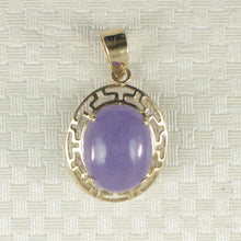 Load image into Gallery viewer, Greek key design 14k Yellow Gold Cabochon Lavender Jade Pendant Necklace