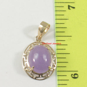 Greek key design 14k Yellow Gold Cabochon Lavender Jade Pendant Necklace