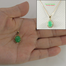 Load image into Gallery viewer, 2100633-Greek-key-Design-14k-Yellow-Gold-Cabochon-Green-Jade-Pendant-Necklace