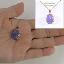 Load image into Gallery viewer, 2100652-Beautiful-14k-Solid-Gold-Lavender-Jade-Pendant-Necklace
