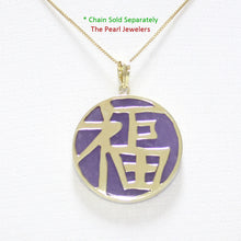 Load image into Gallery viewer, 14k Solid Yellow Gold Good Fortunes on a 22 mm Disc Lavender Jade Pendant