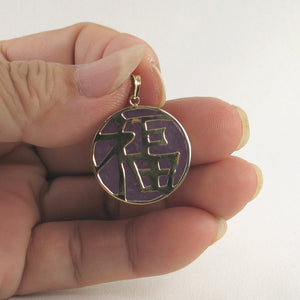 14k Solid Yellow Gold Good Fortunes on a 22 mm Disc Lavender Jade Pendant