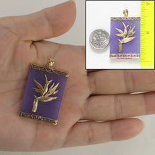 Load image into Gallery viewer, 2100742-14k-Gold-Hawaiian-Bird-of-Paradise-Lavender-Jade-Pendant-Necklace