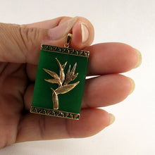 Load image into Gallery viewer, 2100743-14k-Gold-Hawaiian-Bird-of-Paradise-Green-Jade-Pendant