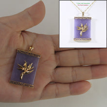 Load image into Gallery viewer, 2100762-14k-Gold-Bird-of-Paradise-Greek-Key-Lavender-Jade-Pendant-Necklace