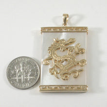 Load image into Gallery viewer, 2100770-14k-Yellow-Gold-Dragon-Greek-Key-White-Mother-of-Pearl-Pendant