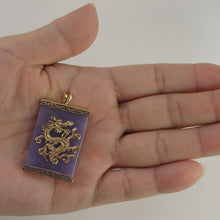 Load image into Gallery viewer, 14k Yellow Gold Dragon & Greek Key On 24x35mm Lavender Jade Pendant Necklace