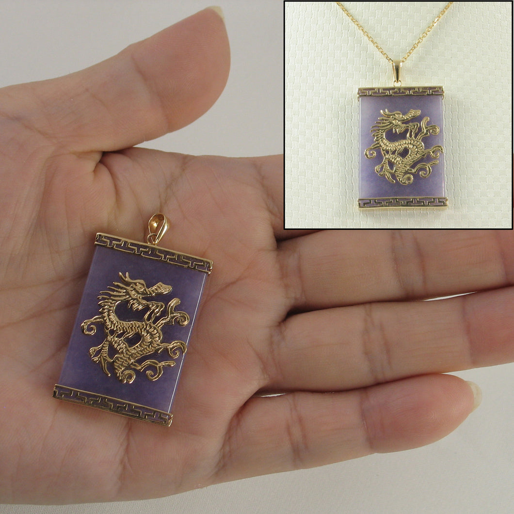 14k Yellow Gold Dragon & Greek Key On 24x35mm Lavender Jade Pendant Necklace