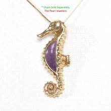 Load image into Gallery viewer, 2100832-14k-Gold-Seahorse-Design-Lavender-Jade-Pendant-Necklace