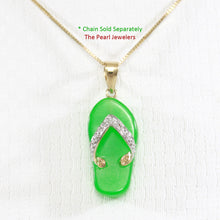 Load image into Gallery viewer, 2100873-Slipper-Green-Jade-14k-Gold-Diamonds-Pendant-Necklace