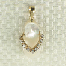 Load image into Gallery viewer, 2100878-14k-Gold-Flip-Flop-Slipper-Diamonds-Mother-of-Pearl-Pendant-Necklace