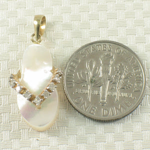 2100878-14k-Gold-Flip-Flop-Slipper-Diamonds-Mother-of-Pearl-Pendant-Necklace