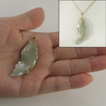 Load image into Gallery viewer, Hand Carved Carp Design Jadeite Pendant; 14k Solid Yellow Gold Bale