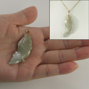 Hand Carved Carp Design Jadeite Pendant; 14k Solid Yellow Gold Bale