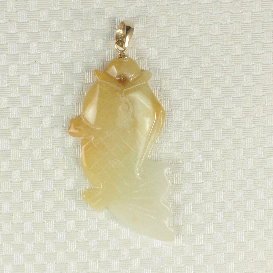 2100897C-Hand-Carved-Carp-Yellow-Jadeite-14k-Gold-Pendant-Necklace