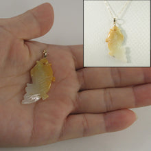 Load image into Gallery viewer, 2100897C-Hand-Carved-Carp-Yellow-Jadeite-14k-Gold-Pendant-Necklace