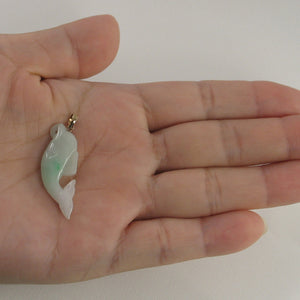 2100906B-14k-Y/G-Hand-Carving-Dolphin-Natural-Apple-Green-Jadeite-Pendant