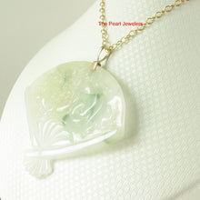 Load image into Gallery viewer, 2100927-14k-Hand-Carved-Fan-Shape-Natural-Jadeite-Pendant-Necklace