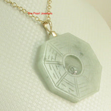 Load image into Gallery viewer, 2100936-14k-Hand-Carved-Eight-Trigrams-Natural-Jadeite-Pendant-Necklace