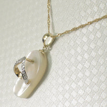 Load image into Gallery viewer, 2100950-14k-Gold-Diamond-Flip-Flop-Slipper-Mother-of-Pearl-Pendant-Necklace