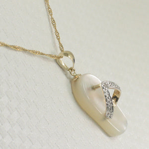 2100950-14k-Gold-Diamond-Flip-Flop-Slipper-Mother-of-Pearl-Pendant-Necklace