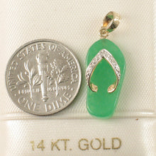 Load image into Gallery viewer, 2100953-14k-Gold-Diamond-Flip-Flop-Slipper-Green-Jade-Pendant-Necklace