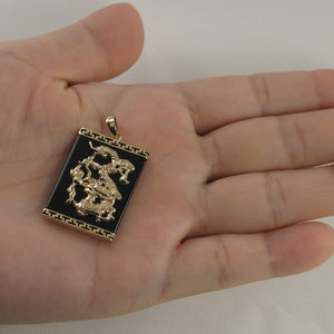 14k Solid Yellow Gold Hand Crafted Dragon 22mm by 30mm Black Onyx Pendant