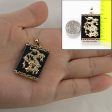 Load image into Gallery viewer, 14k Solid Yellow Gold Hand Crafted Dragon 22mm by 30mm Black Onyx Pendant
