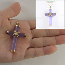Load image into Gallery viewer, 2101022-14kt-YG-Handcrafted-Cylinder-Lavender-Jade-Christian-Cross-Pendant-Necklace