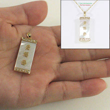 Load image into Gallery viewer, 2101030-14k-Gold-Triple-Lucky-Greek-Key-Mother-of-Pearl-Pendant-Necklace