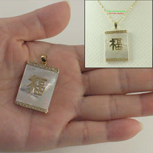 Load image into Gallery viewer, Rectangle White Mother of Pearl Pendant Crafted 14k Yellow Gold Good Fortune
