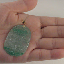 Load image into Gallery viewer, 2101463B-Hand-Carved-Dragon-Celadon-Green-Jade-Beautify-14k-Gold-Pendant