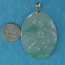 Load image into Gallery viewer, Lovely Hand Carved Hare Celadon Green Oval Jade Pendant 14k Yellow Gold Bale