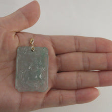 Load image into Gallery viewer, 2101468B-14k-Gold-Hand-Carved-Dog-Translucent-Green-Jade-Pendant