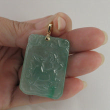 Load image into Gallery viewer, 2101468D-Hand-Carved-Dog-Translucent-Green-Jade-14k-Gold-Pendant