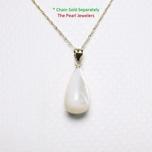 Hand Carved Tear Drop White Mother of Pearl Pendant; 14k Yellow Gold Bale