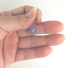Load image into Gallery viewer, Hand Craved Raindrop Lavender Jade 14k Solid Yellow Gold Pendant