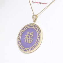 Load image into Gallery viewer, 2101482-14k-Gold-Joy-Greek-Key-Disc-Lavender-Jade-Luck-Pendant-Necklace
