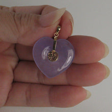 Load image into Gallery viewer, 2101502-14k-Solid-Yellow-Gold-Joy-Heart-Shaped-Lavender-Jade-Love-Pendant
