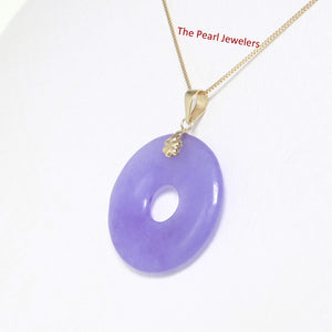 14k Solid Yellow Gold 24mm Tablet Ring Shaped Lavender Jade Pendant