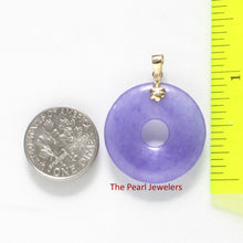 Load image into Gallery viewer, 14k Solid Yellow Gold 24mm Tablet Ring Shaped Lavender Jade Pendant