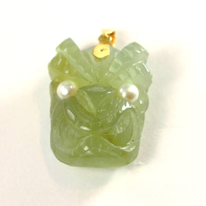 Hand Carved Hawaiian Tiki Gods Carving New Jade Pendant 14k Yellow Gold