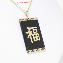 Load image into Gallery viewer, 2101781-14k-GOOD-LUCK-Beautiful-Black-Onyx-Oriental-Pendant-Necklace