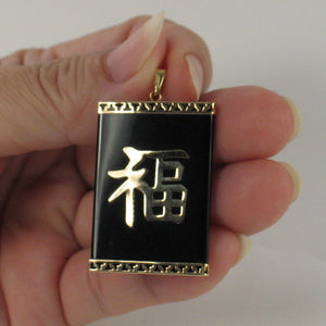 2101781-14k-GOOD-LUCK-Beautiful-Black-Onyx-Oriental-Pendant-Necklace