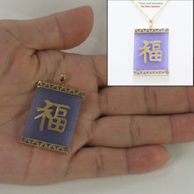 Load image into Gallery viewer, 2101782-14k-GOOD-LUCK-Beautiful-Lavender-Jade-Oriental-Pendant-Necklace