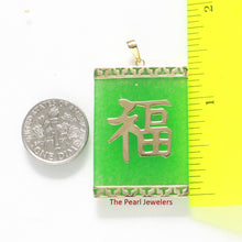 Load image into Gallery viewer, Beautiful 14k Yellow Gold Joy; Greek key design Rectangle Green Jade Pendant