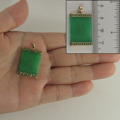 14k Yellow Solid Gold Greek Key Design Green Jade Board Pendant