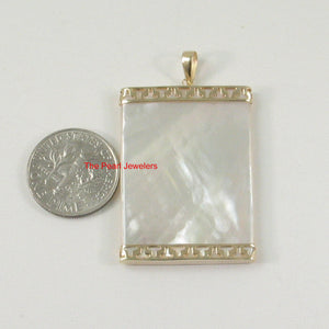 2121780-14k-Gold-25mm x 35mm-White-Mother-of-Pearl-Board-Pendant
