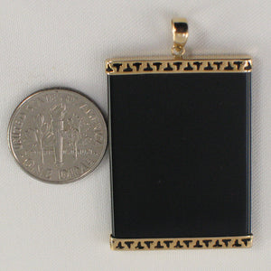 14k Yellow Solid Gold 25mm x 35mm Black Onyx Board Pendant